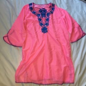Lilly Pulitzer pink tunic cover up
